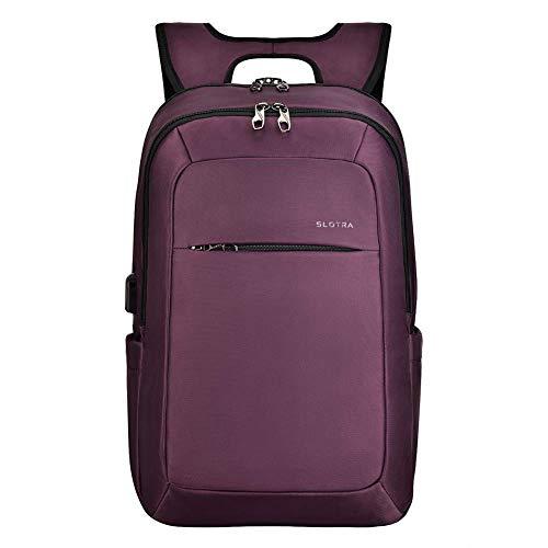 SLOTRA Zaino per Laptop da 15-15,6 Pollici con Porta di Ricarica USB Anti borseggio Anti graffio, Unisex Multiuso Antifurto Zaino per La Scuola, Business-Viola