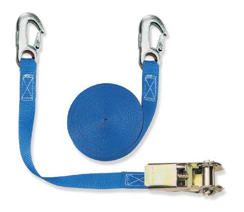 Braun Spanngurt 800 daN, zweiteilig, für Privattransporte, nach DIN EN 12195-2, geeignet, Farbe Blau, 6 M Länge, 25 mm Bandbreite, mit Ratsche und Karabinerhaken.