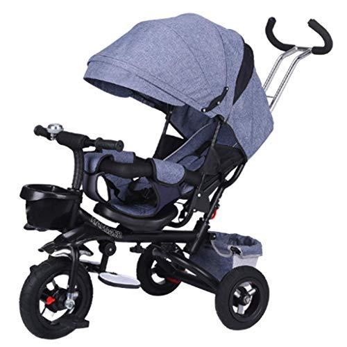 ZJZ Triciclo para niños, Cochecito de dirección 4 en 1 con asa Ajustable, Asiento de Seguridad, Cesta de Almacenamiento y Pedales para niños de 10 Meses a 5 años