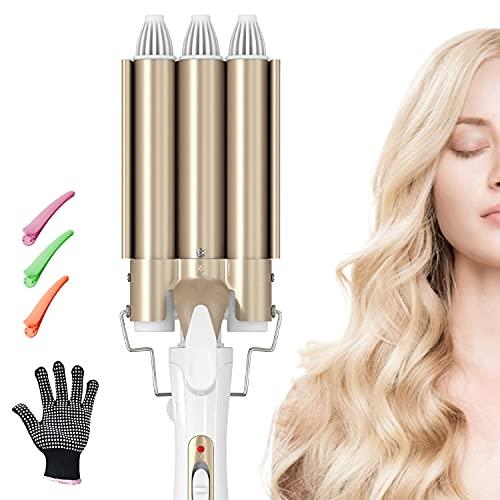 Lockenstab, 3 Fässer konstante Temperatur Welleisen, Tut nicht weh Haare, 170-220 °C 22mm Ändern Sie die Haarform nach Belieben, Schnelle Erwärmun
