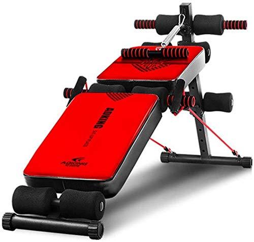 TAIDENG Banco de pesas ajustable Banco de pesas inclinado Banco plegable Supino entrenamiento familiar gimnasio multifunción Banco ajustable Banco de peso sentado (color: rojo)
