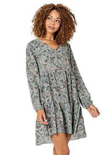 Sublevel Damen Kleid mit Paisley Muster-Print Blue M/L