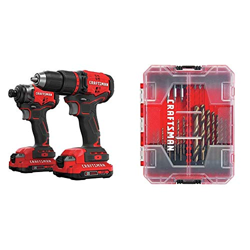 CRAFTSMAN V20 Cordless Drill Combo Kit, 2 Tool with Drill Bit Set, 85 Pieces (CMCK210C2 & CMAF1285)