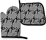 Asekngvo Kickboxing Pigeon Oven Mitts Y Pot Sostenedores De Cocina Juego De Cocina Resistente Al Calor Hornear BBQ Mitones