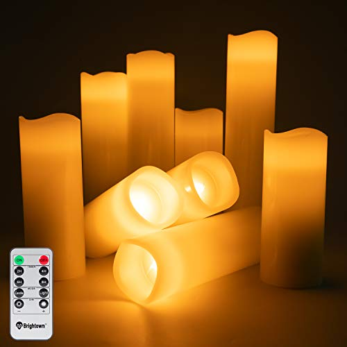 Flameless Candles Battery Operated, 5' 5.5'6' 7' 8' 9' Set of 9 Ivory Real Wax Pillar Led Flickering Candles with Remote Control and Timer for Wedding Party Christmas Dinner Decoration