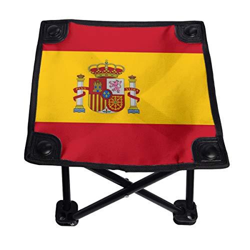 Bandera de España Pequeña Silla Plegable Taburete Plegable Portátil Ligero Banco Oxford Exterior para Camping Pesca Senderismo