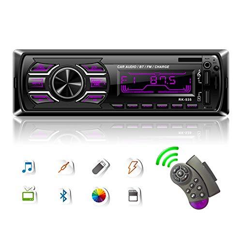 Podofo-Autoradio mit Bluetooth, 1 Din Car Stereo-MP3-Player für Digitale Medien, 4 x 50 W Unterstützung Freisprechen/UKW-Radio/Doppel-USB/TF/AUX + Lenkradsteuerung, 7 LED-Farben einstellbar