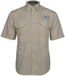 Southeastern Oklahoma State Khaki Short Sleeve Performance Fishing Shirt 'New Primary Logo Embroidery'