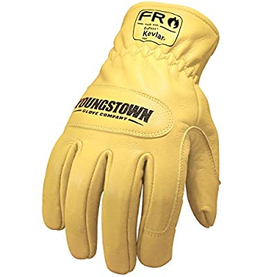 Youngstown Glove Company 12-3365-60-S FR Ground Work Glove Lined with Kevlar Performance, Small, Brown