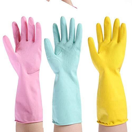 NewbieBoom Gants de ménage à Usage Quotidien Gants de Protection imperméables, Gants résistants à l'huile et en Caoutchouc durables M Vert, M Jaune