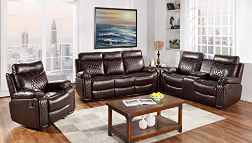 Hollywood Decor Odessa 3 Piece Reclining Sofa Set in Brown Leather Gel