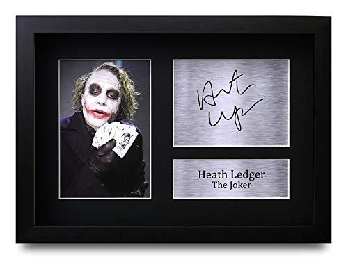 HWC Trading Heath Ledger A4 Gerahmte Signiert Gedruckt Autogramme Bild Druck-Fotoanzeige Geschenk Für The Joker Batman Filmfans