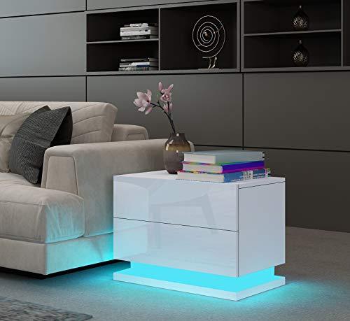 UNDRANDED Universal Sofa Tische Wohnzimmer Hochglanz Front mit 2 Schubladen RGB LED Streifen Beistelltische 50 x 35 x 43cm (Weiß)
