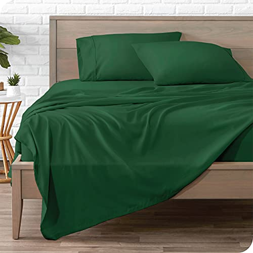 Bare Home Queen Sheet Set - 1800 Ultra-Soft Microfiber Queen Bed Sheets - Double Brushed - Queen Sheets Set - Deep Pocket - Bedding Sheets & Pillowcases (Queen, Forest Green)