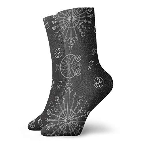 OUYouDeFangA Retro-Socken mit Wikinger-Runensymbol, Baumwolle, gemütlich, kurze Socken für Yoga, Wandern, Radfahren, Laufen, Fußball, Sport