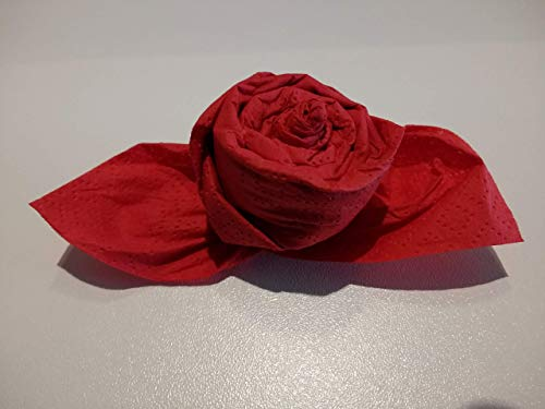 Servietten Rosen in rot,12 er Set, fertig gefaltet zur Hochzeit, Geburtstag, Taufe, Kommunion als Mitbringsel und zu allen besonderen Anlässen.