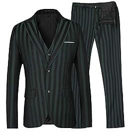 MAGE MALE Men's Stripe 3 Piece Suit Dress Slim Fit Two Button Business Suit Vest Pants Sets