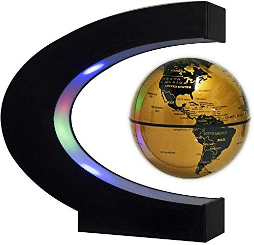 Dresspic Floating Globe With Led Lights C-Shaped Floating And Rotating World Map In The Air,Suitable For Desk Decoration