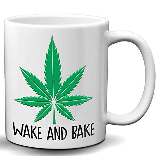 Wake And Bake Coffee Mug - 11 Oz White Ceramic Marijuana Coffee Mug | Novelty Marijuana Weed Gifts for Stoners & Cannabis Coffee Lovers | Birthday, Christmas, Father's Day Funny Gift Ideas