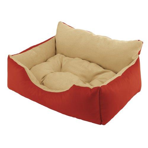 Ferplast 81014022 Royal 80 Hundebett aus Lederimitat mit Microfasermaterial, 78 x 56 x H 28 cm, rot