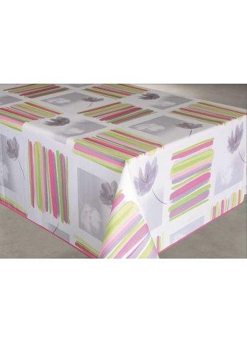 HomeMaison HM69179-16 Nappe Enduite Rectangulaire Imprimé Rayures et Fleurs Polyester Rose/Vert 145 x 240 cm