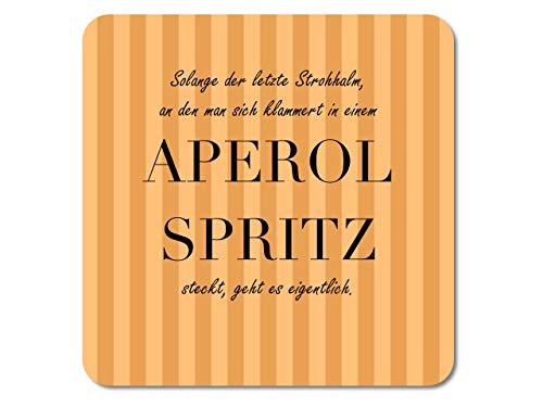 Interluxe LED Untersetzer - Solange der Strohhalm Aperol Spritz - leuchtender Getränkeuntersetzer als witziges Geschenk oder Bar-Deko für die Party