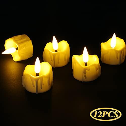 Velas LED,MOZIGGAO 12 Luces de Té sin Llama Velas Led con Pilas,Realistas y...