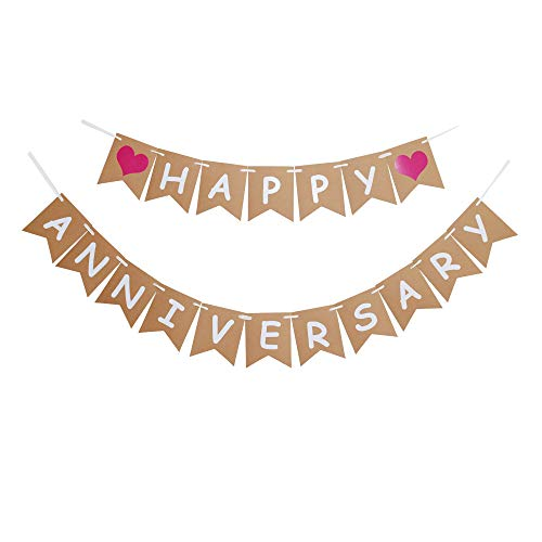Happy Anniversary Banner, Vintage Paper Sign for Wedding Anniversary Party Decoration Supplies