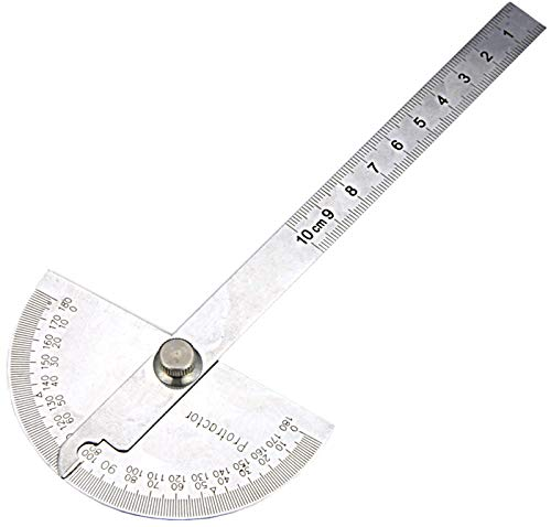 Nortools 0-180° Round Head Protractor - Angle Finder Craftsman Ruler Machinist Tool (Stainless Steel)