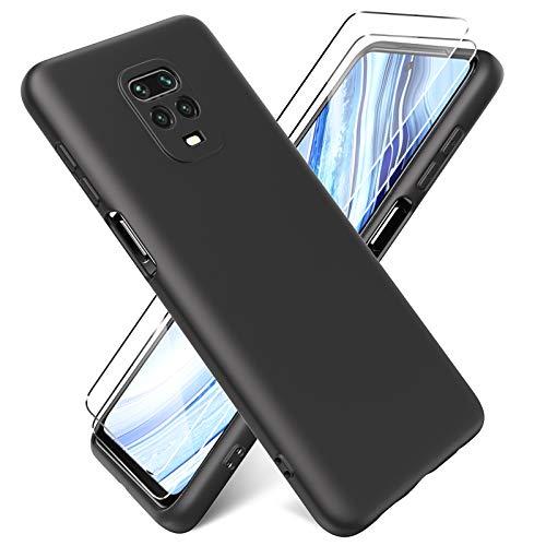 Oududianzi - Cover per Xiaomi Redmi Note 9S / Note 9 PRO + [2 Pack] Pellicola Protettiva in Vetro Temperato, Custodia Liquid Silicone TPU Cover Ultra-Sottile AntiGraffio Antiurto Case - Nero