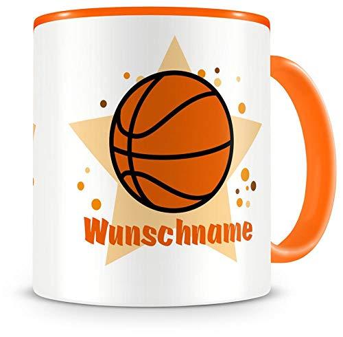 Samunshi® Kindertasse mit Namen Tasse Basketball Personalisierte Tasse mit Namen Kinder Kinderbecher mit Namen Kindergarten orange 300ml
