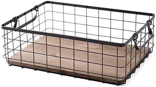 Erosch Edelstahl-Draht-Speicher-Korb, mit Holzboden und Zwei Schwarze Griffe, for Küche NahrungsmittelPantry Badezimmer Schlafzimmer usw.