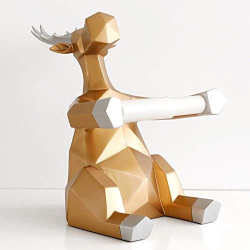 MIANJUMJ beeldhouwwerk kleine sculptuur, hars gouden hert beeldhouwwerk moderne kunst met papieren handdoekhouder pop dier knutselen decoratie voor op het bureau thuis.