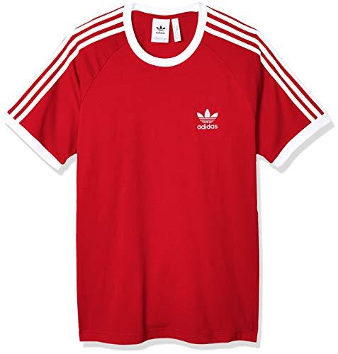 adidas Herren 3-Streifen T-Shirt, Lush Red, S