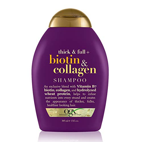 Price comparison product image OGX Thick & Full + Biotin & Collagen Volumizing Shampoo for Thin Hair,  Thickening Shampoo with Vitamin B7 & Hydrolyzed Wheat Protein,  Paraben-Free,  Sulfate-Free Surfactants,  13 fl oz