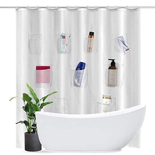 htovila Duschvorhang 180x180CM Polyester Wasserdicht Anti-corrosion Antibakterieller mit Taschen 12er Kunststoffhaken