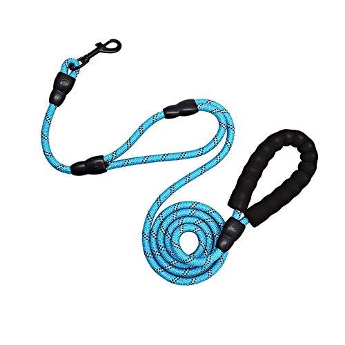 Correa para Perro Correr 1.8M Correa de Cuerda con Mango Acolchado Doblepara Perros de Todos los Tamaños (Azul)