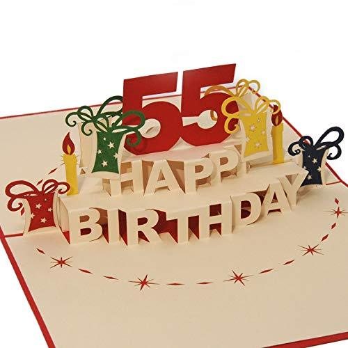 Favour Pop Up Glückwunschkarte zum runden 55. Geburtstag. Ein filigranes Kunstwerk, das sich beim Öffnen als Geburtstagstorte entfaltet. ALTA55R