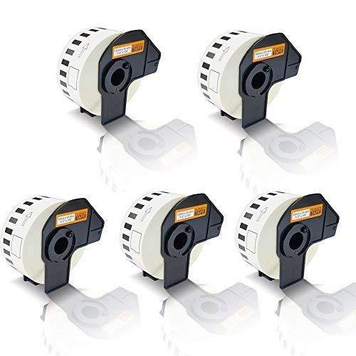 5x Kompatible Etiketten-Rollen für Brother P-Touch DK-22214 P-Touch QL 800 P-Touch QL 810 W P-Touch QL 820 NWB P-Touch QL800 P-Touch QL810W P-Touch QL820NWB Endlos Etiketten Drucker Plus Serie