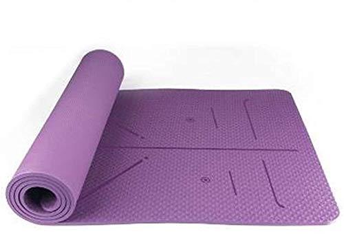 hwljxn Estera de Yoga, Estera de Fitness Antideslizante, con Bolsa de Transporte, Estera de Entrenamiento ecológico, para Yoga Pilates Home Gym Gym Gym Ejercicios de Piso de Viajes, púrpura