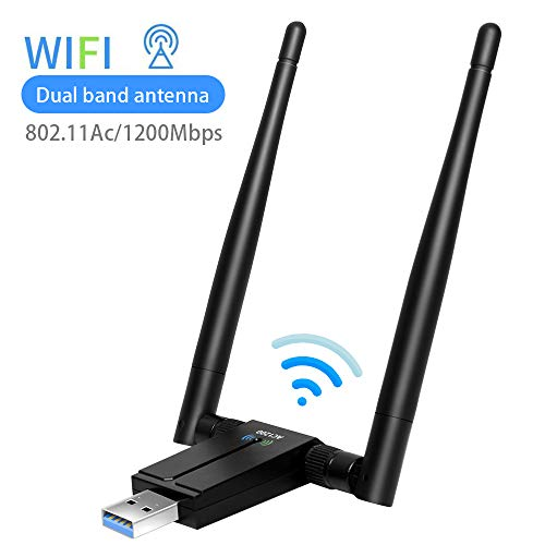 sumgott Antena WiFi,1200Mbps WiFi USB Adaptador 5.8Ghz/2.4Ghz Dual Band Receptor WiFi Inalámbrico Dongle WiFi USB PC para PC, Windows 10/8/7/Vista/XP Mac OSX