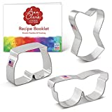 Ann Clark Cookie Cutters 3-Piece Summer Swimming Cookie Cutter Set with Recipe Booklet, Sunglasses, Bathing Shorts, Bathing Suit