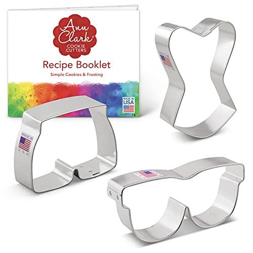 clark occhiali Set di formine per biscotti da spiaggia (3 pezzi) Ann Clark Cookie Cutters con ricettario