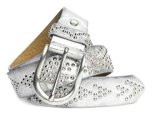Lovely Lauri Damen Gürtel Western Style mit Nieten Silber 85