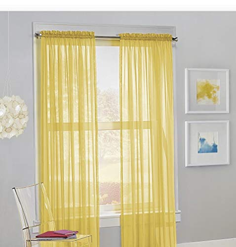 """Jasmine Linen 2PC Sheer Luxury Curtain Panel Set for Kitchen/Bedroom 84"""" inch Long Variation of Colors (Yellow)"""
