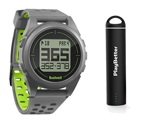 Bushnell iON2 Golf GPS Watch (Silver/Green) Power Bundle | with PlayBetter Portable USB Charger | Simple, Intuitive Golf GPS Watch | 36,000+ Worldwide Courses | 2018 Version