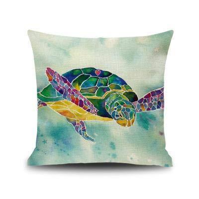 Hugyou - Funda de cojín con diseño de tortuga marina creativa, para el reposacabezas de la sala de estar