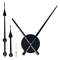 EMOON 2 Pair Hands 3D Clock Movement DIY Large Wall Clock Quartz Clock Mechanism for Home Art Decor (Black) (Black-Gold)