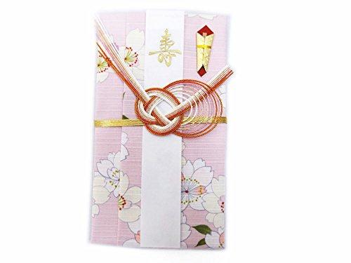 小風呂敷 ご祝儀袋 短冊3枚 中袋入 和柄 薄ピンク色地八重桜 日本製