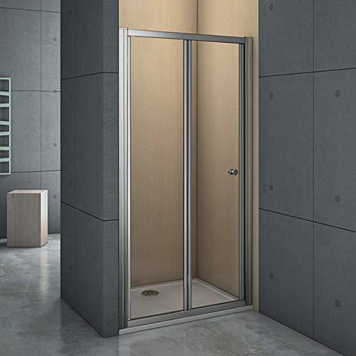 nis douchedeur 100x185cm,2-delige vouwdeur,6mm helder veiligheidsglas